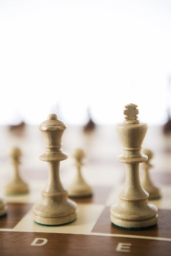 Stock Photo: 4306R-17498 Chessboard and chessmen.