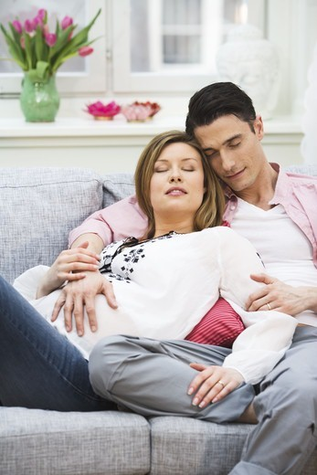 Stock Photo: 4306R-17576 A man and a pregnant woman, Sweden.