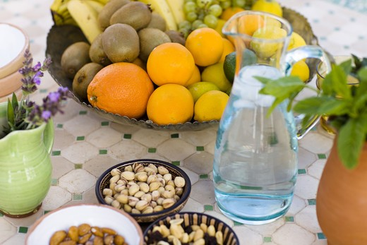 Stock Photo: 4306R-17655 Fruit and nuts on a table, Andalusia, Spain.