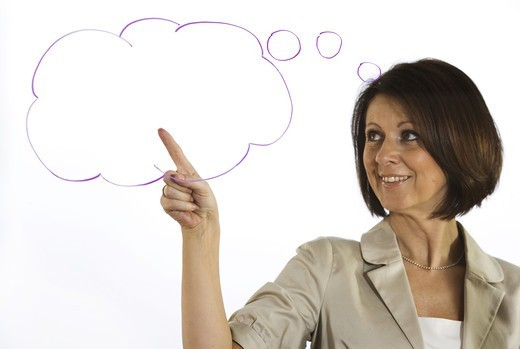 A business woman with a thought-bubble, Sweden. : Stock Photo