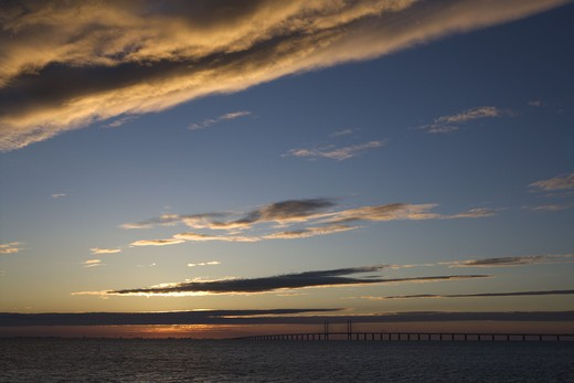 Stock Photo: 4306R-18747 Oresundsbron in the sunset, Sweden.