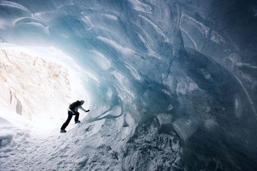 Ice cave, Mer de Glace, Chamonix, France. : Stock Photo
