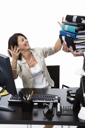 Stock Photo: 4306R-20406 Businesswoman at the office.