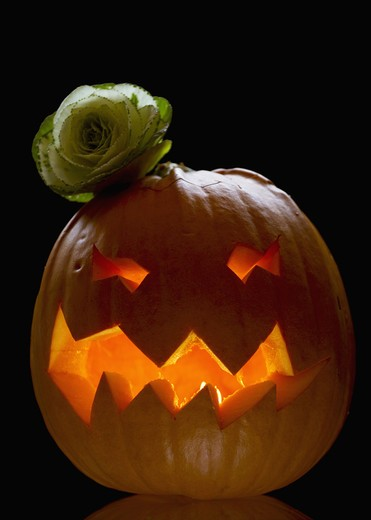 Stock Photo: 4306R-20732 A Halloween pumpkin, Denmark.
