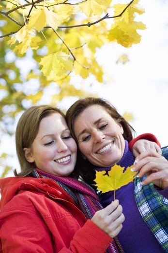 Mother and daughter holding a maple leaf, Sweden. : Stock Photo