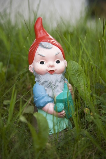 A garden gnome in the grass, Switzerland. : Stock Photo