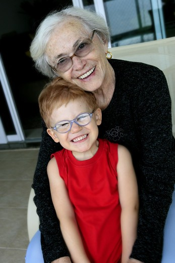 Portrait of a grandmother and a grandchild, Brazil. : Stock Photo