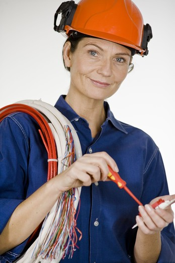 Stock Photo: 4306R-22062 Portrait of an electrician.