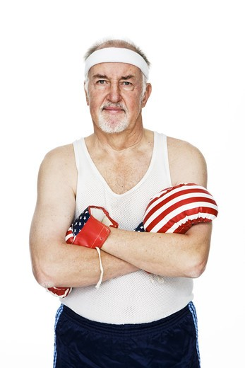 Stock Photo: 4306R-22362 Senior man with boxing gloves.