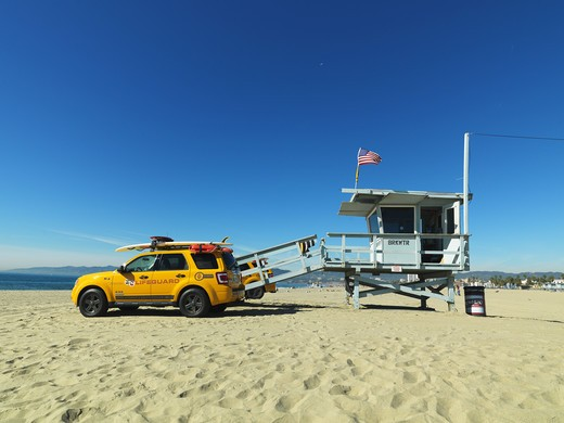 Stock Photo: 4306R-22378 Lifeguard on Venice Beach, California, USA.