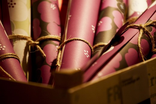 Golden and pink gift-wrap paper, Denmark. : Stock Photo