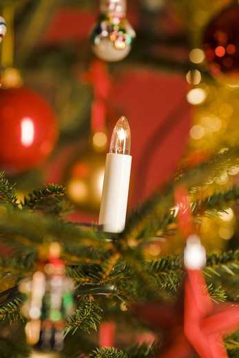 A close-up of a decorated Christmas tree. : Stock Photo