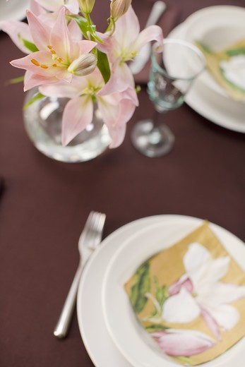 Stock Photo: 4306R-23048 A table laid for a special occasion.