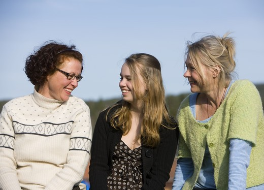 Portrait of mature women and a teenage girl, Sweden. : Stock Photo
