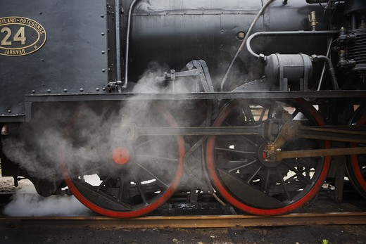 Stock Photo: 4306R-23629 An old black steam engine, Sweden.