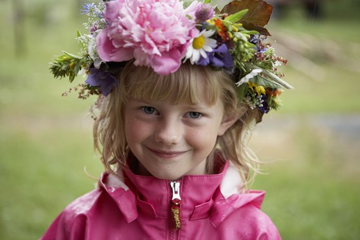 Stock Photo: 4306R-23637 Girl with a wreath of flowers in her hair, Sweden.