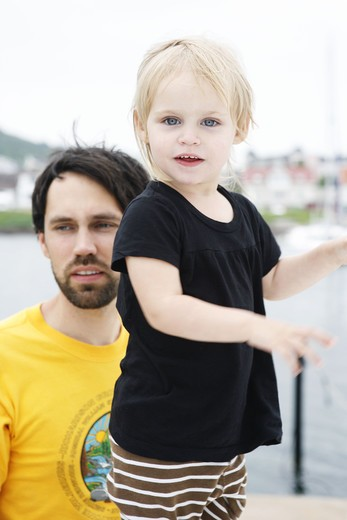 Stock Photo: 4306R-24295 Father and daughter on jetty