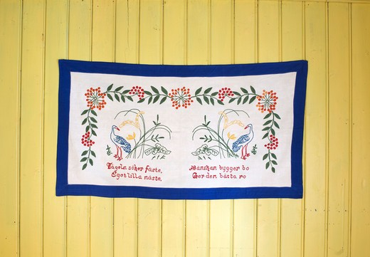 Stock Photo: 4306R-24445 Embroidered message on a wall hanging, Sweden.