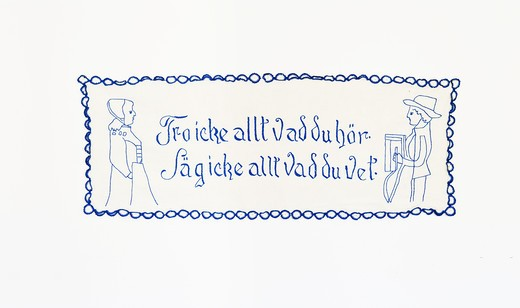Stock Photo: 4306R-24558 Embroidered message on a wall hanging, Sweden.