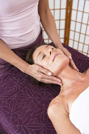 Stock Photo: 4306R-24908 Woman having head massage at health spa