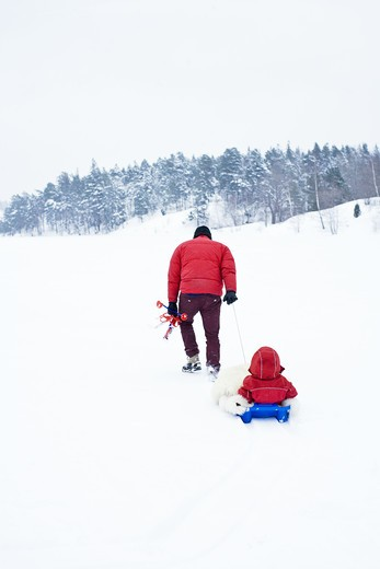 Stock Photo: 4306R-25876 Father and daughter playing with toboggan