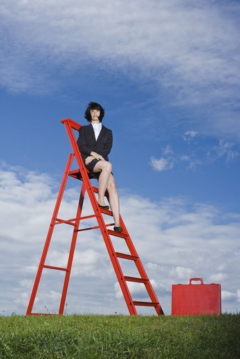 Stock Photo: 4306R-25949 Businesswoman with red briefcase sitting on top of red ladder in grass field