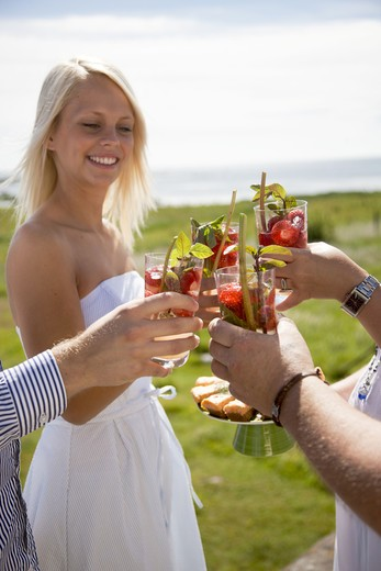 Couples toasting drink at coast, smiling : Stock Photo