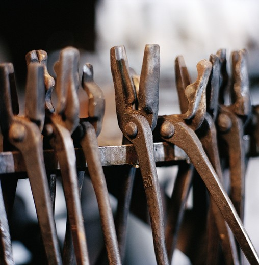Stock Photo: 4306R-8571 Row of work tools, close-up
