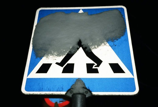 Stock Photo: 4306R-9285 Sign for zebra crossing.