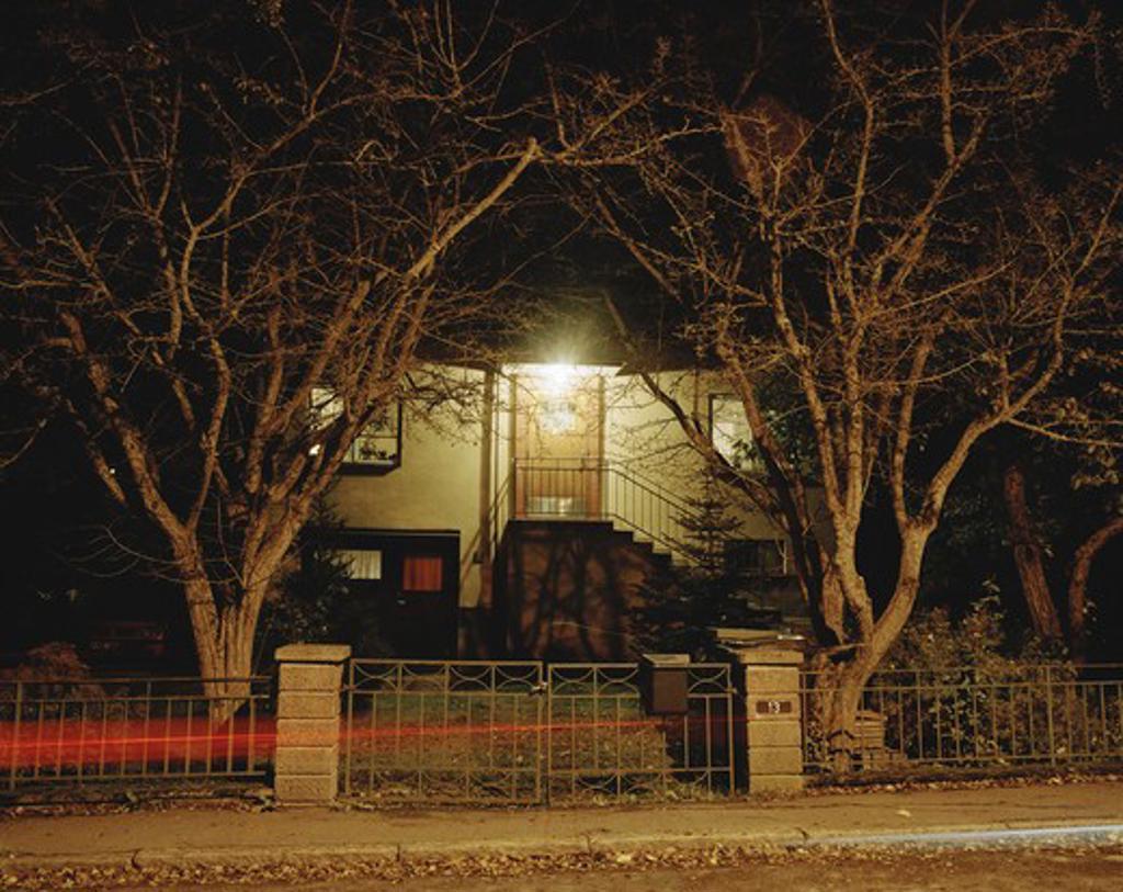 A villa in the night. : Stock Photo