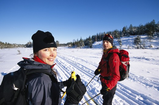 Stock Photo: 4306R-9996 Two happy skiers.