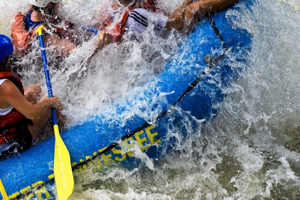 Stock Photo: 4307-206 Group of Young People White-Water Rafting