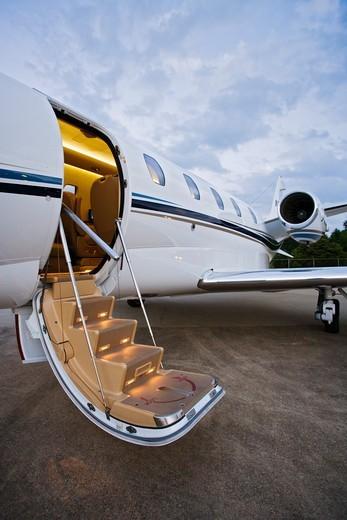 Business Jet With Open Door : Stock Photo
