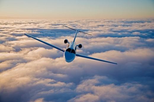 Citation CJ3 Aerial Over Clouds : Stock Photo