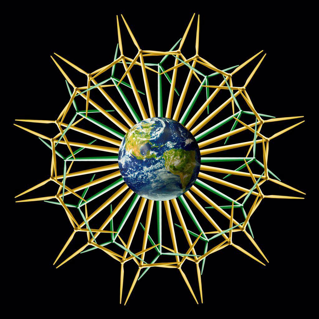 Earth Windtower Mandala, Flower Version : Stock Photo