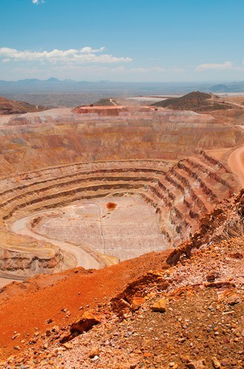 Stock Photo: 4313-1345 The open-pit Morenci Mine in Morenci, Arizona, is the largest copper mine in North America and one of the largest in the world. It also mines gold.