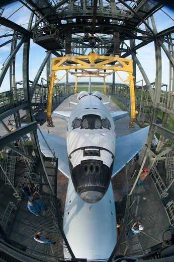 Stock Photo: 4313-1466 USA, Florida, Cape canaveral, Kennedy Space Center, Elevated View of Endeavour space shuttle lifting on top of 747 shuttle carrier aircraft