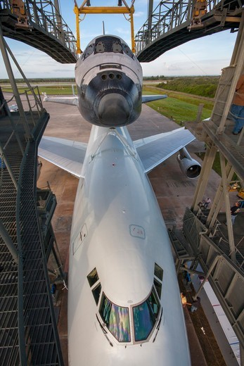 Stock Photo: 4313-1479 USA, Florida, Cape canaveral, Kennedy Space Center, Elevated View of Endeavour space shuttle on top of 747 shuttle carrier aircraft