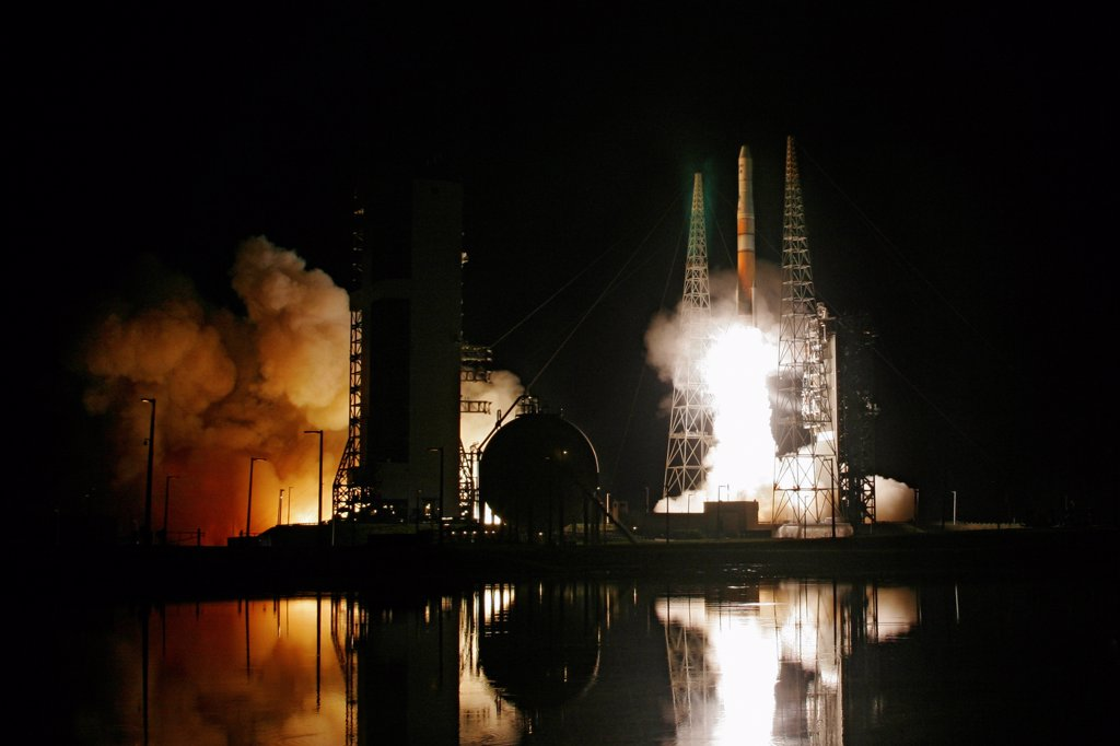 Stock Photo: 4313-289 A Delta IV rocket launches the GOES-O (Geostationary Operational Environmental Satellite) weather satellite for NASA and NOAA.