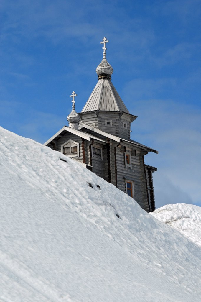 Stock Photo: 4313-351 Trinity Church, a Russian orthodox church built in 2004 near Russia's Bellingshausen research base on King George Island in the Antarctic. It was built in Siberia and shipped to Antarctica, the southernmost Eastern Orthodox church in the world, and permanently staffed by a priest..