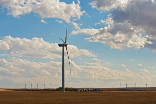 A wind farm on the plains of Alberta, Canada, with powerlines. : Stock Photo