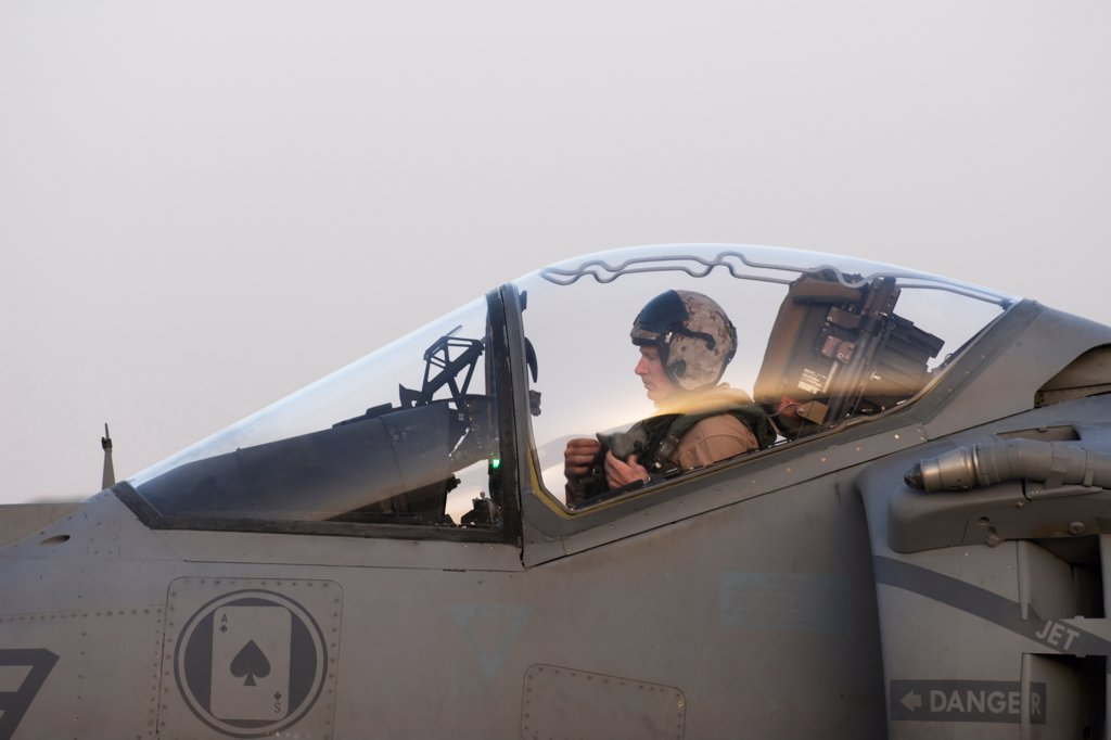 Stock Photo: 4316-1036 A US Marine Aviator Prepares to Launch His AV-8B Harrier From Al Asad Air Base in Iraq's Al Anbar Province