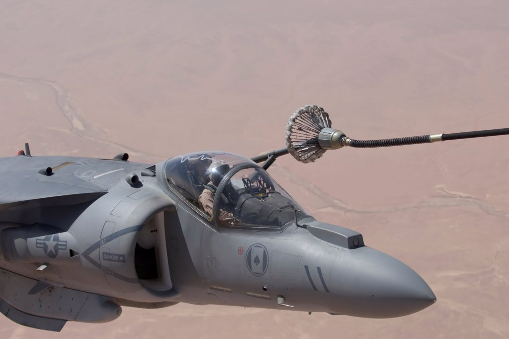 Stock Photo: 4316-1060 A US Marine Corps AV-8B Harrier During In Flight Refueling over Iraq's Al Anbar Province