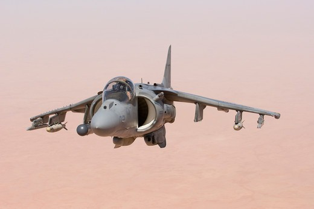 A US Marine Corps AV-8B Harrier High Above the Al Anbar Province of Iraq : Stock Photo
