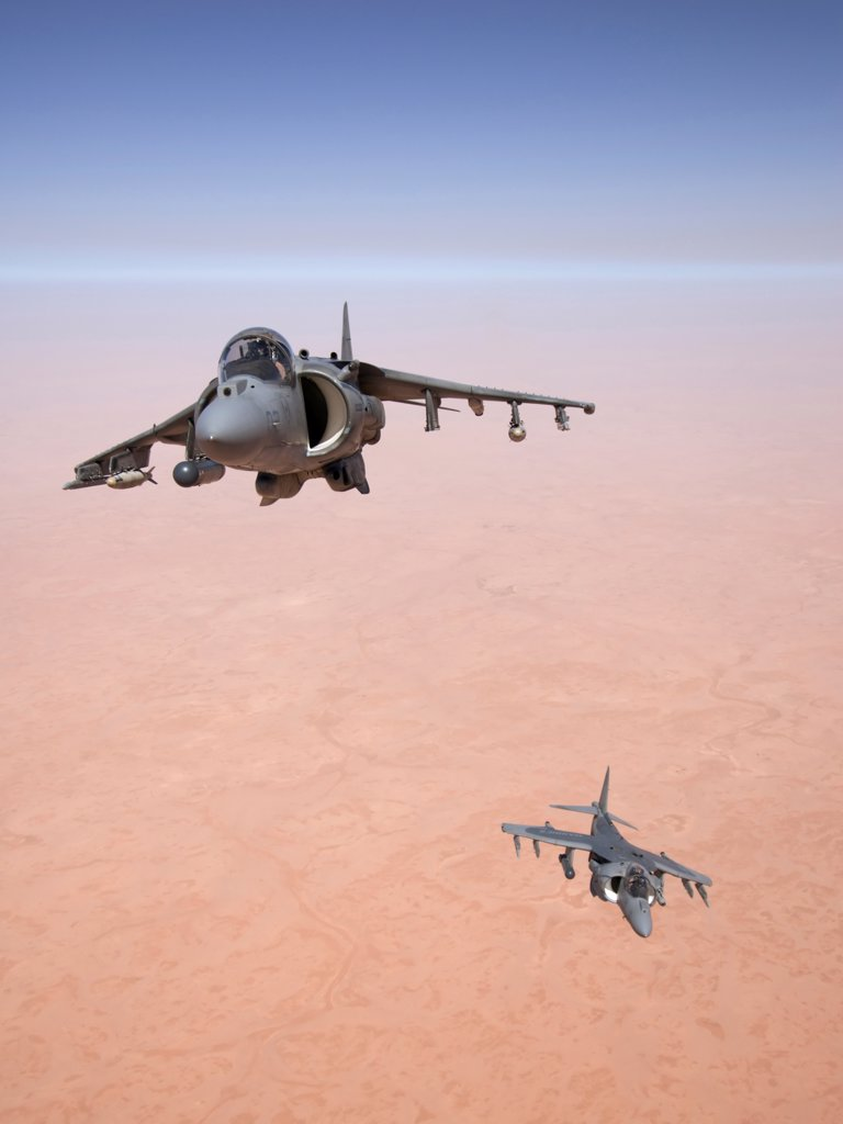 Stock Photo: 4316-1078 Two US Marine Corps AV-8B Harriers High Above the Al Anbar Province of Iraq