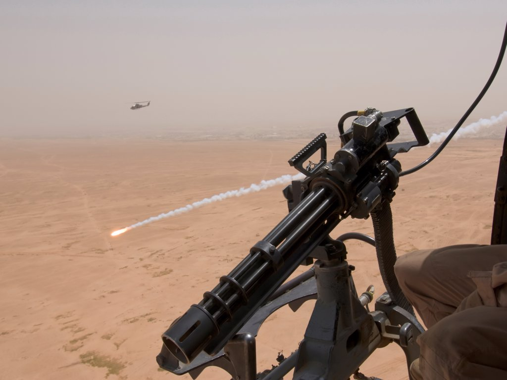 View of An Expended Anti Missile Flare from a US Marine Corps UH-1N Iroquois Helicopter Flying a Close Air Support Mission over the Al Anbar Province of Iraq : Stock Photo