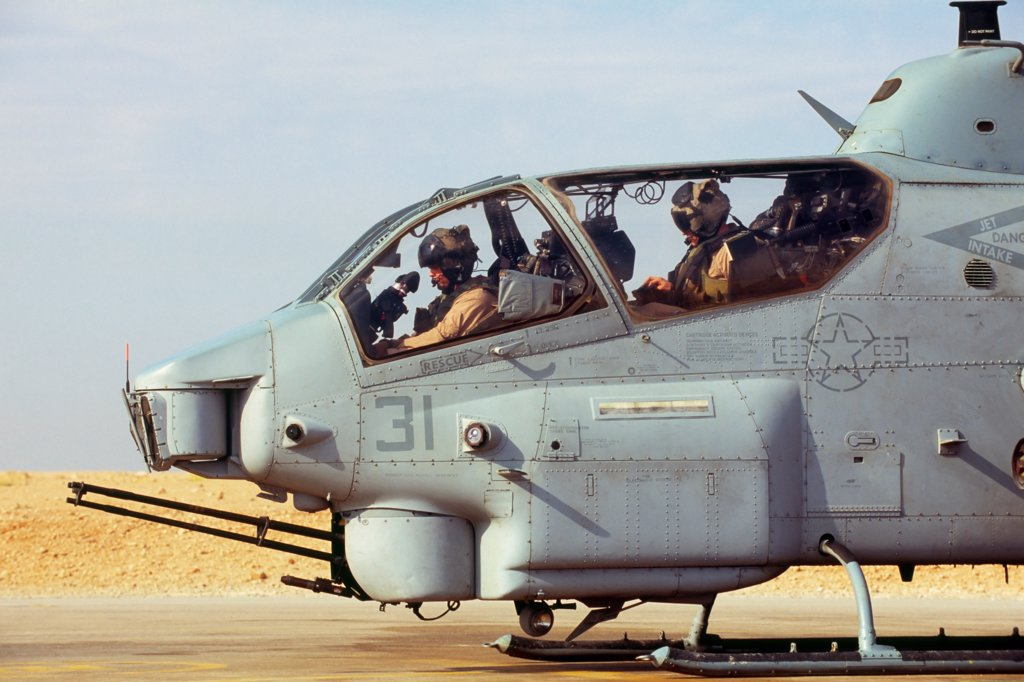 Stock Photo: 4316-1227 US Marine Aviators Prepare to Launch An AH-1W Super Cobra from Al Asad Air Base in Iraq's Anbar Province