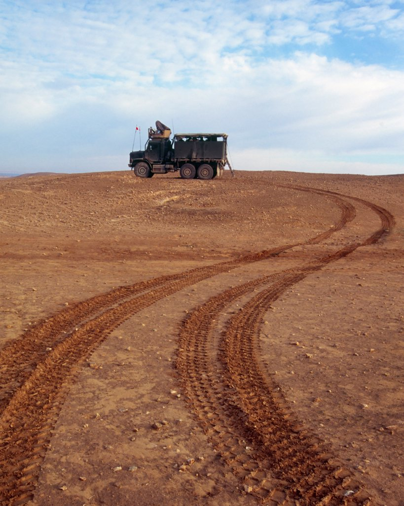 Tracks Leading to a US Marine 7 Ton Truck During a Combat Operation North of Haditha, Iraq : Stock Photo