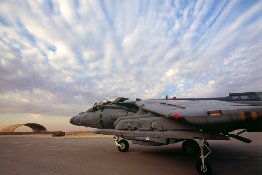 Stock Photo: 4316-1258 A US Marine Corps AV-8B Harrier Taxis Before a Takeoff at Al Asad Air Base in Iraq's Anbar Province