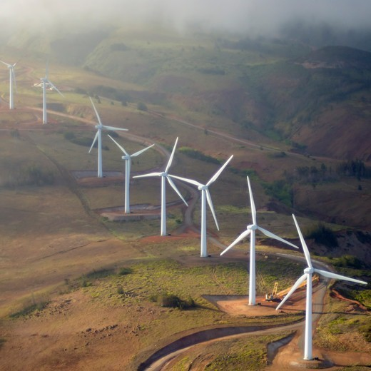 Stock Photo: 4316-1372 Wind Turbines of the Kaheawa Wind Energy Project, on the West Maui Mountains of the Hawaiian Island of Maui